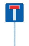 De verkeersteken van het impassegeen gaand verkeer, geïsoleerde kant van de wegt signage op poolpost voorzien uithangbord, blauw  Royalty-vrije Stock Foto