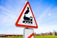De verkeersteken van het spoorwegspoor Stock Fotografie