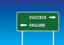 De verkeersteken van het succes en van de mislukking Stock Foto