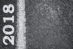 de verkeerstekenachtergrond van 2018 Het concept van het nieuwjaar Stock Fotografie
