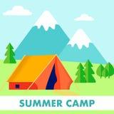 De verkenner Summer Camp, neemt Vlakke Vectorillustratie zijn toevlucht stock illustratie