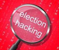 De verkiezing die Magnifier binnendringen in een beveiligd computersysteem toont de Verkiezingen 3d Illustratio binnendrongen in  vector illustratie