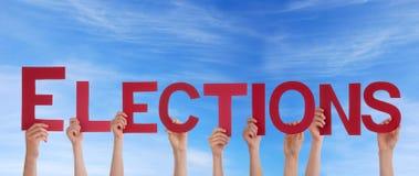 De Verkiezingen van de mensenholding in de Hemel royalty-vrije stock foto's
