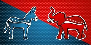 De verkiezingen van de V.S. Democratisch versus Republikeinse partij Stock Fotografie