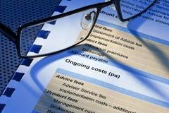 De Verklaring van de Prijzenkosten van de beheersdienst stock afbeeldingen