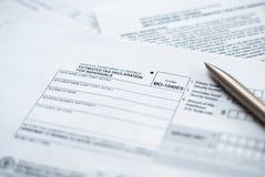 De verklaringsvorm van de belasting met pen. Royalty-vrije Stock Fotografie