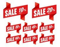 De verkoop etiketteert kortingsorigami Stock Afbeelding