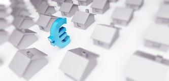 De verkoop huisvest euro teken 3d Illustraties op een witte 3D illustratie als achtergrond, het 3D teruggeven Vector Illustratie
