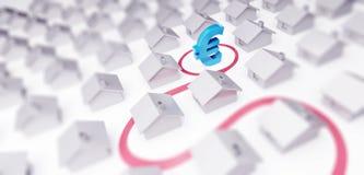 De verkoop huisvest euro teken 3d Illustraties op een witte 3D illustratie als achtergrond, het 3D teruggeven Stock Illustratie