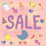 De verkoop van de affichebaby Verkooppunten voor babys Stock Foto