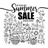 De verkoop van de affichezomer, reeks zwarte pictogrammen en symbolen met motor op witte achtergrond, vliegermalplaatjes met het  Royalty-vrije Stock Foto's