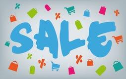 De verkoop van de borstelstijl met het winkelen pictogrammen Royalty-vrije Stock Afbeelding