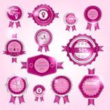8 de Verkoop van de de Vrouwendag van Maart de Internationale het Winkelen reeks van de Kortingsmarkering stock illustratie