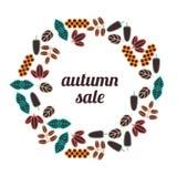 De VERKOOP van de herfst De VERKOOP van Word van rode de herfstbladeren Stock Afbeeldingen