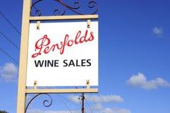 De verkoop van de het Landgoedwijn van Penfoldswijnen en proevend teken Royalty-vrije Stock Afbeelding