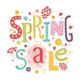 De verkoop van de Lletteringslente met decoratieve bloemen Stock Foto's