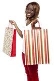 De Verkoop van de Verkoop van de verkoop? Dragende het winkelen van de vrouw zakken Stock Afbeelding