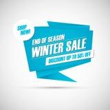 De verkoop van de winter Eind van de banner van de seizoenspeciale aanbieding, korting tot 50% weg Winkel nu! Stock Fotografie