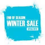 De verkoop van de winter Eind van de banner van de seizoenspeciale aanbieding met de achtergrond van de borstelslag Royalty-vrije Stock Afbeeldingen