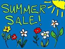 De verkoop van de zomer met zon en bloemenkrabbel Royalty-vrije Stock Afbeelding