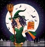 De verkoop van Halloween Seksuele stedelijke heks Royalty-vrije Stock Afbeeldingen