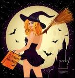 De verkoop van Halloween Seksuele winkelende heks Stock Foto's