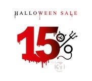 De verkoop van Halloween De vectormalplaatjebanner van de kortingen van de vakantieverkoop is vijftien percenten vector illustratie