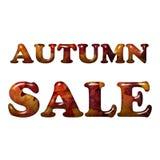 De VERKOOP van de herfst De VERKOOP van Word van rode de herfstbladeren Royalty-vrije Stock Foto