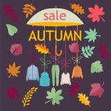 De VERKOOP van de herfst De VERKOOP van Word van rode de herfstbladeren Achtergrond met bladeren Royalty-vrije Stock Fotografie