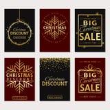 De verkoop van Kerstmis Vector geplaatste luxebanners Stock Afbeeldingen