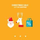 De verkoop van nieuwjaarkerstmis gaan het winkelen ontwerpmalplaatje voor uw zaken Royalty-vrije Stock Afbeeldingen