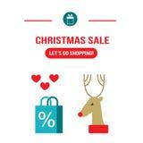 De verkoop van nieuwjaarkerstmis gaan het winkelen ontwerpmalplaatje voor uw zaken vector illustratie