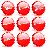 De verkoop van Word in verschillende talen. Stock Fotografie