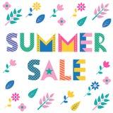 De verkoop van de zomer In geometrische doopvont Tekst, gebladerte en bloemen op een witte achtergrond wordt geïsoleerd die Royalty-vrije Stock Afbeeldingen