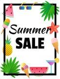 De verkoop van de zomer Malplaatje voor banner of affiche Tekst in het kader Stock Foto's