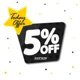 De verkoop 5% weg, de ontwerpsjabloon van de kortingsbanner, biedt vandaag aan, extra promomarkering, vectorillustratie vector illustratie