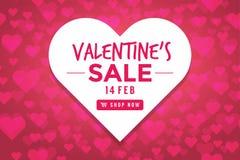 De verkoopachtergrond van de valentijnskaartendag met gevormd hart vector illustratie