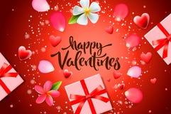 De verkoopachtergrond van de valentijnskaartendag met giftdoos, bloemen, hartpatroon, vectorillustratie Behang, vliegers, uitnodi stock foto's