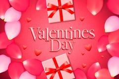 De de verkoopachtergrond van de valentijnskaartendag met giftdoos, nam bloemblaadjes, hartpatroon, vectorillustratie toe Behang,  stock afbeelding