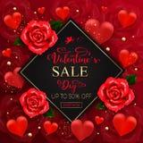 De verkoopachtergrond van de valentijnskaartendag met harten, rozen, gouden bellen, royalty-vrije illustratie