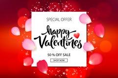 De verkoopachtergrond van de valentijnskaartendag met rozenbloemblaadjes, vectorillustratie Banners, behang, vliegers, uitnodigin stock foto's