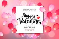 De verkoopachtergrond van de valentijnskaartendag met rozenbloemblaadjes, vectorillustratie Banners, behang, vliegers, uitnodigin royalty-vrije stock afbeeldingen