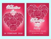 De verkoopachtergrond van de valentijnskaartendag met vastgesteld patroon Vectorillustra Stock Fotografie