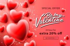 De verkoopaffiche van de valentijnskaartendag met rode hartenachtergrond, vectorillustratie stock illustratie
