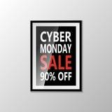 De verkoopbanner van de Cybermaandag die op witte achtergrond wordt geïsoleerd Vector illustratie Royalty-vrije Stock Fotografie