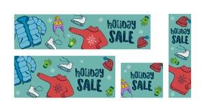 De verkoopbanners van de de wintervakantie Stock Afbeeldingen