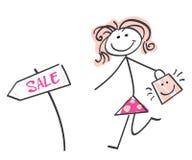 De verkoopmeisje van de krabbel royalty-vrije illustratie