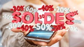 De verkooppictogrammen van de zakenmanholding over zijn telefoon het 3D teruggeven Royalty-vrije Stock Foto