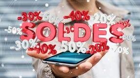 De verkooppictogrammen van de zakenmanholding over zijn telefoon het 3D teruggeven Royalty-vrije Stock Foto's