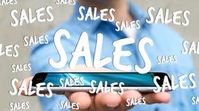 De verkooppictogrammen van de zakenmanholding over zijn telefoon het 3D teruggeven Royalty-vrije Stock Afbeelding